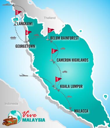 Malaysia Rundreise | Landkarte Rundreise Chinesische Händler