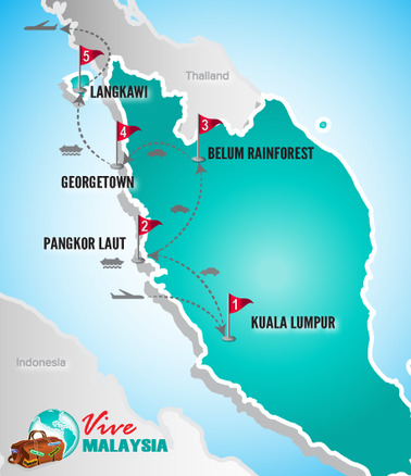 Malaysia Rundreise | Landkarte Rundreise Flitterwochen