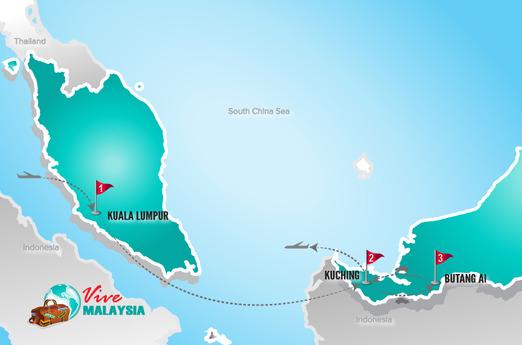 Malaysia Reisen | Landkarte Rundreise Borneo