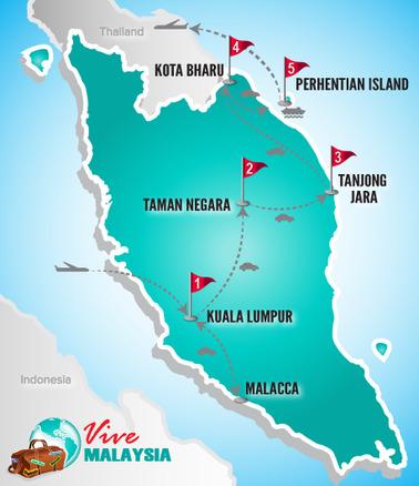 Malaysia Rundreise | Landkarte Rundreise Luxusstrände