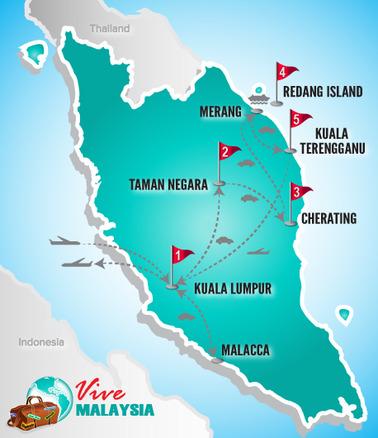 Malaysia Rundeise | Landkarte Kuala Lumpur und die Strände Malaysias