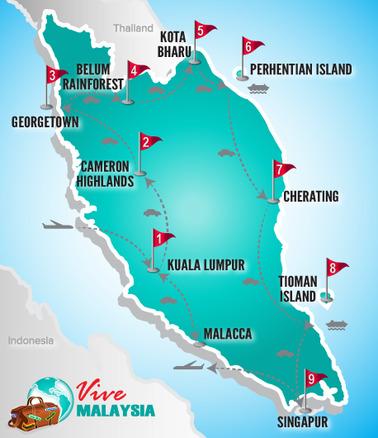 Malaysia Rundreise | Landkarte Rundreise Sternstunden