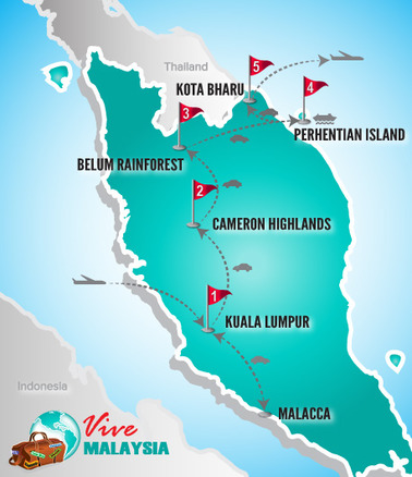 Malaysia Rundreise | Landkarte Rundreise Highlights Malaysias