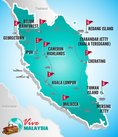 Malaysia Reisen | Landkarte Rundreise Sternstunden Malaysias